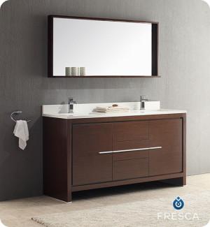 Fresca Allier (double) 60-Inch Wenge Brown Modern Bathroom Vanity Set