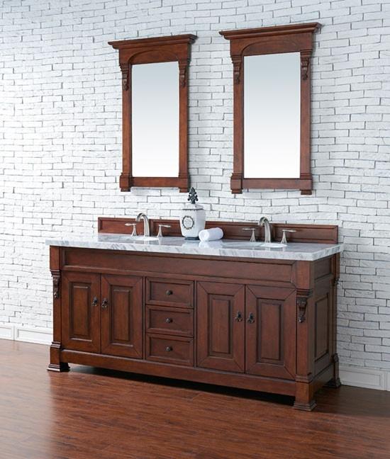 James Martin Brookfield Double 72 Inch Transitional Bathroom Vanity Warm Cherry