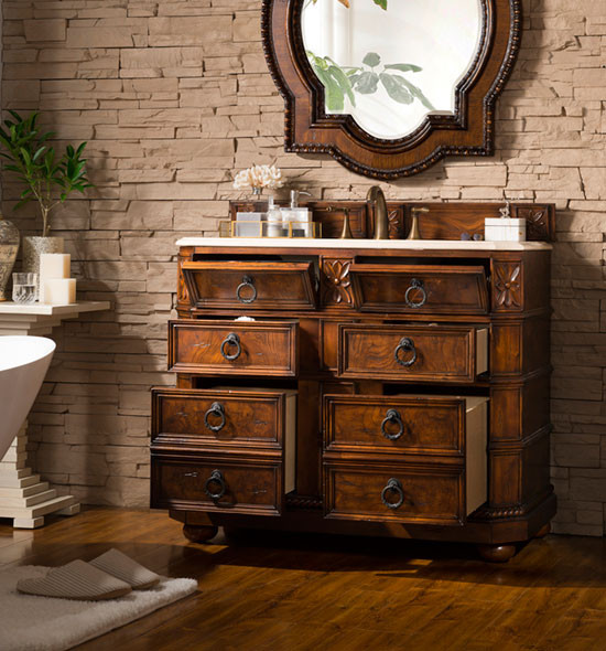 James Martin Regent Single 40 5 Inch Traditional Bathroom Vanity English Burl