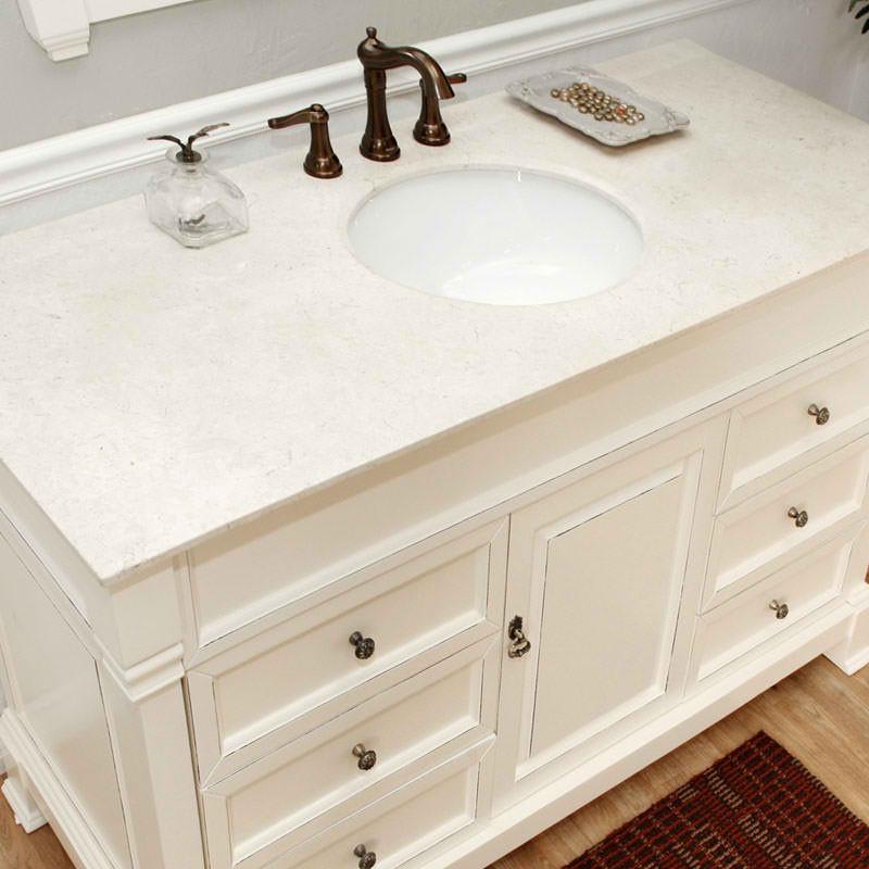 Bon Harlow (single) 50 Inch Cream White Traditional Bathroom Vanity With Mirror  Option