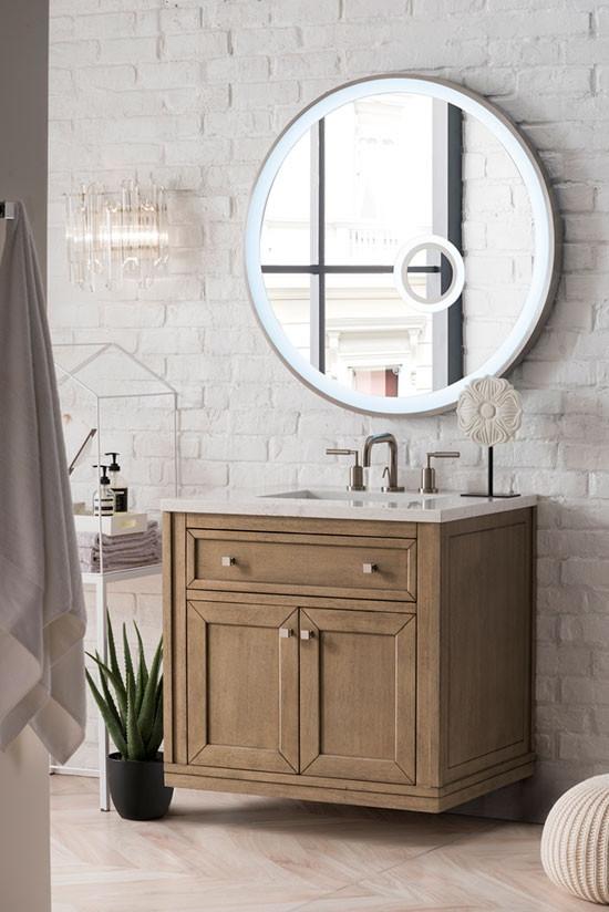 James Martin Chicago Single 30 Inch Transitional Bathroom Vanity White Washed Walnut