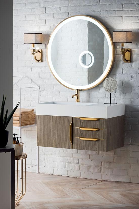 James Martin Mercer Island Single 35 5 Inch Modern Wall Mount Bathroom Vanity Ash Gray