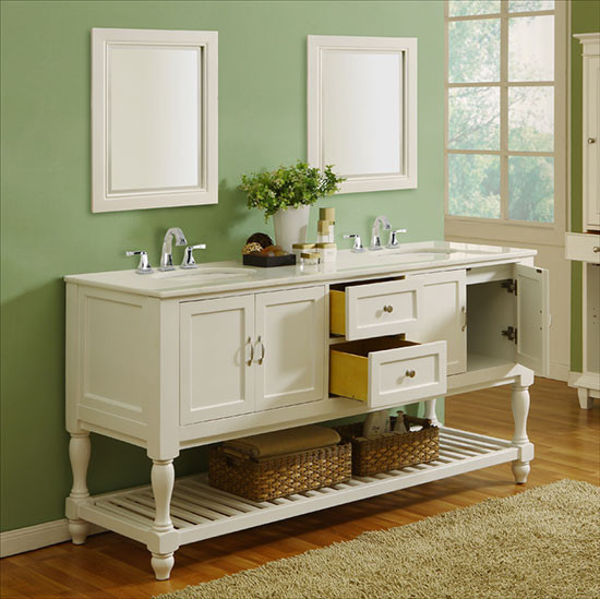 Vancouver double 70 inch transitional bathroom vanity pearl white for 70 inch bathroom double vanity