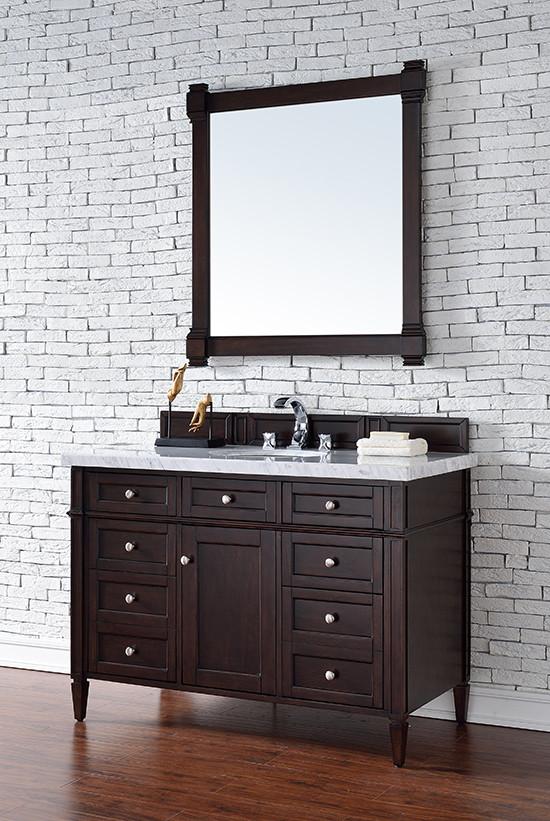 James Martin Brittany Single 48 Inch Transitional Bathroom Vanity Burnished Mahogany