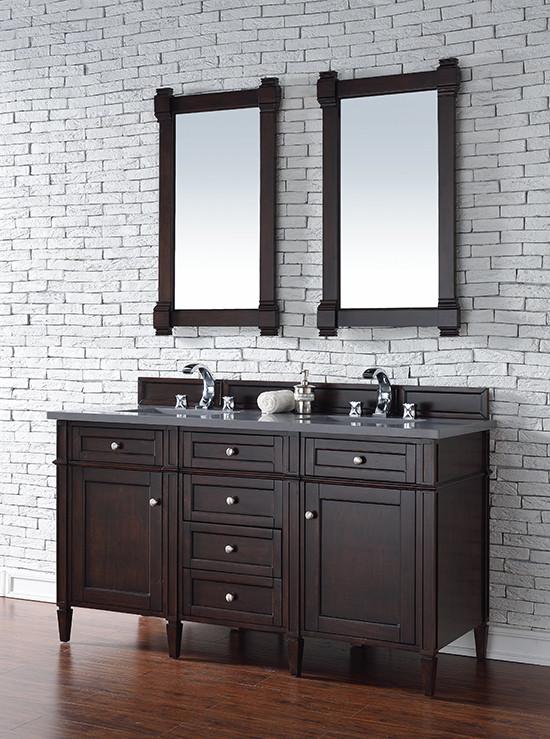 James Martin Brittany Double 60 Inch Transitional Bathroom Vanity Burnished Mahogany