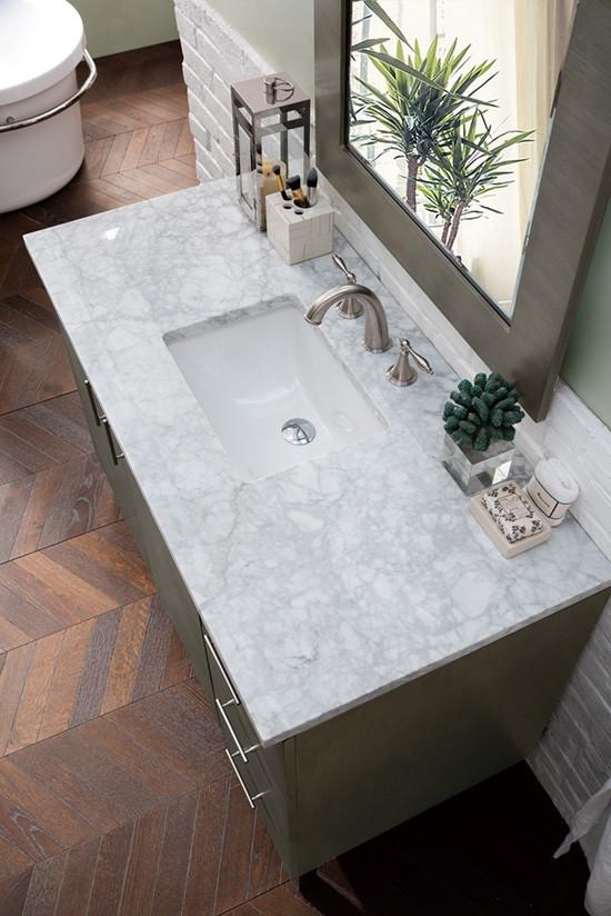 James Martin Metropolitan Single 48 Inch Modern Bathroom Vanity Silver Oak