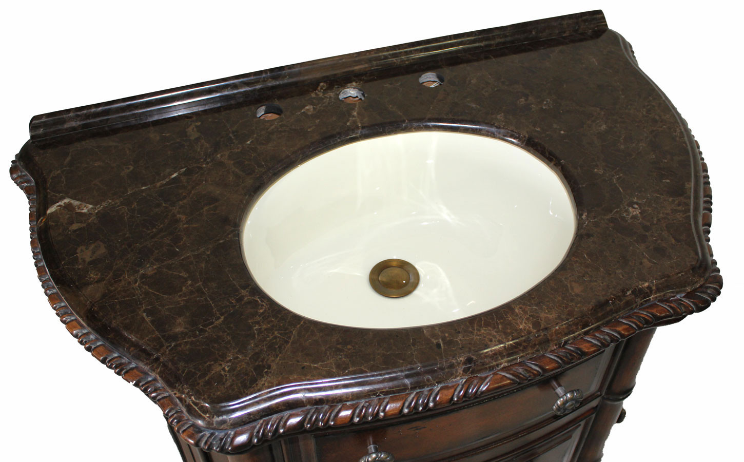 Clover Single Inch Antique Dark Walnut Bathroom Vanity - 33 inch bathroom vanity
