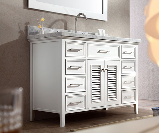 Etonnant Ariel Kensington (single) 49 Inch White Transitional Bathroom Vanity Set
