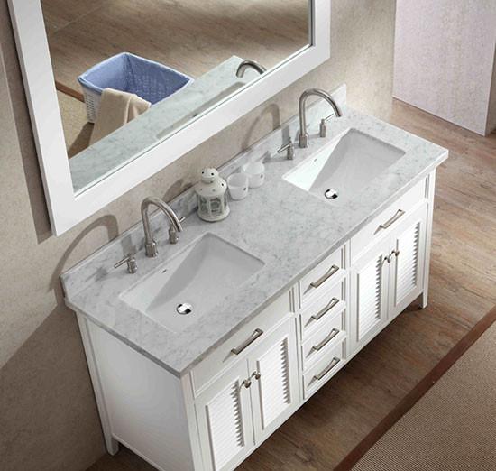 Ariel Kensington Double 61 Inch Transitional Bathroom Vanity Set White