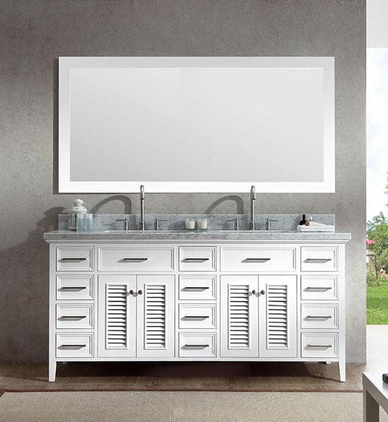 Genial Ariel Kensington (double) 73 Inch White Transitional Bathroom Vanity Set