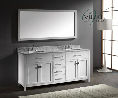 Virtu Usa Caroline Double 71 9 Inch Contemporary Bathroom Vanity With Mirror White