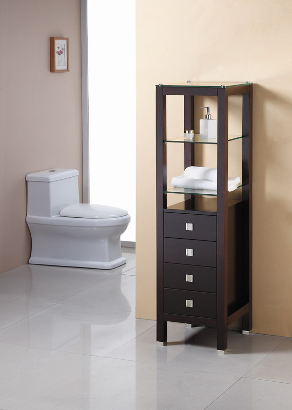 Virtu Usa Chessington 16 Inch Tall Linen Bathroom Side Cabinet Espresso