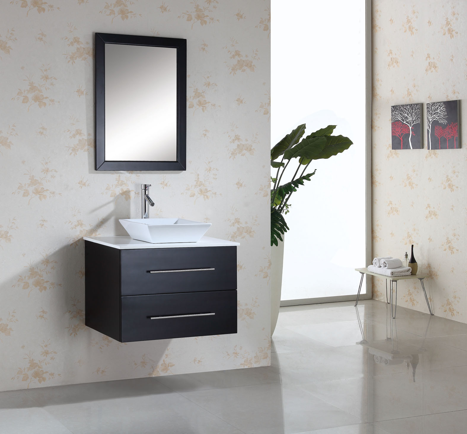 Virtu Usa Marsala Single 29 5 Inch Modern Wall Mount Bathroom Vanity Set Espresso