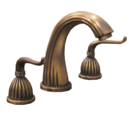 Antique Brass Three Piece Faucet 8 Inch Spread
