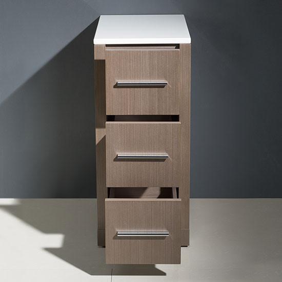 Fresca Torino 12 Inch Transitional Bathroom Linen Side Cabinet Gray Oak