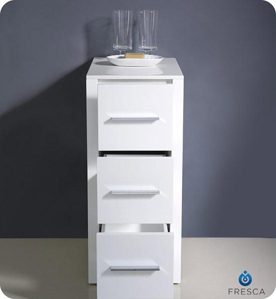 Fresca Torino Transitional Bathroom Linen Side Cabinet White - Fresca torino white tall bathroom linen side cabinet