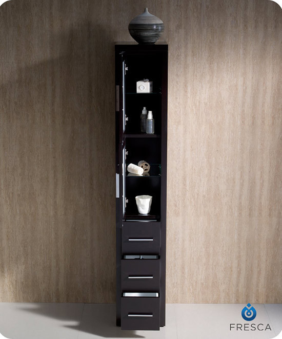 Fresca Torino 12 Inch Espresso Bathroom Tall Linen Side Cabinet