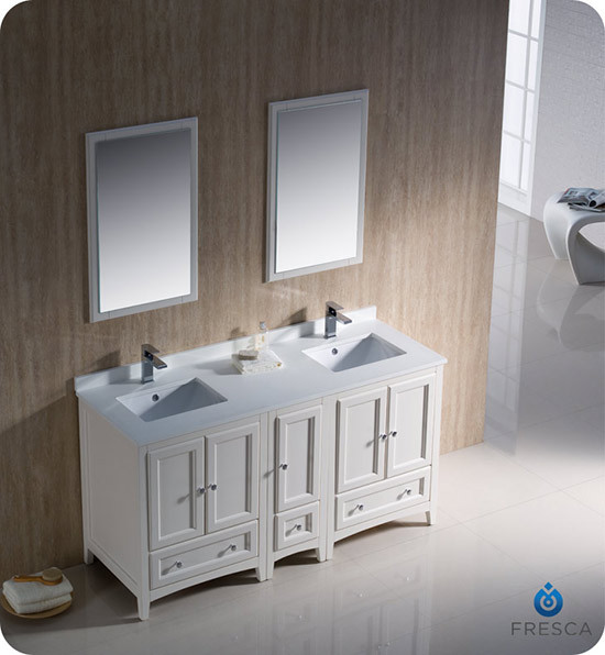Fresca oxford double 60 inch transitional modular - Antique white double sink bathroom vanities ...