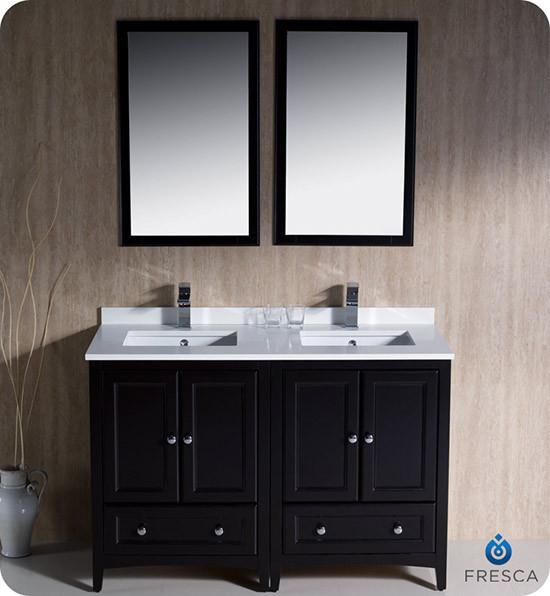 Fresca Oxford Double 48 Inch Transitional Bathroom Vanity Espresso