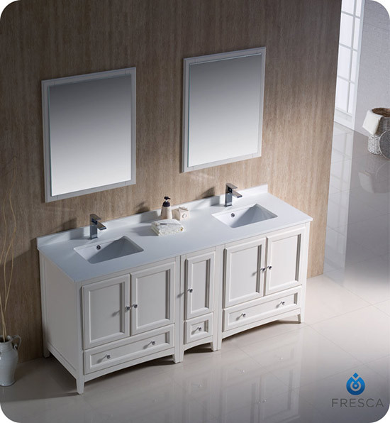 Fresca oxford double 72 inch transitional bathroom - Antique white double sink bathroom vanities ...