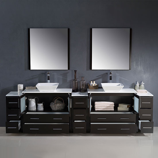 Fresca Torino Double 108 Inch Espresso Modern Bathroom Vanity With Vessel Sinks