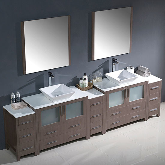 Fresca Torino Double 108 Inch Modern Bathroom Vanity Gray Oak With Vessel Sinks