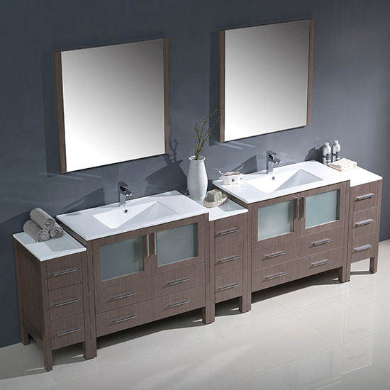 Fresca Torino Double 108 Inch Modern Bathroom Vanity Gray Oak With Integrated Sinks