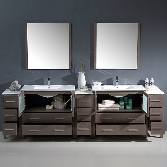 Fresca Torino Double 108 Inch Gray Oak Modern Bathroom Vanity With Integrated Sinks