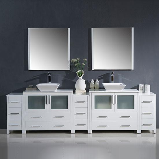 Fresca Torino Double 108 Inch Modern Bathroom Vanity White With Vessel Sinks