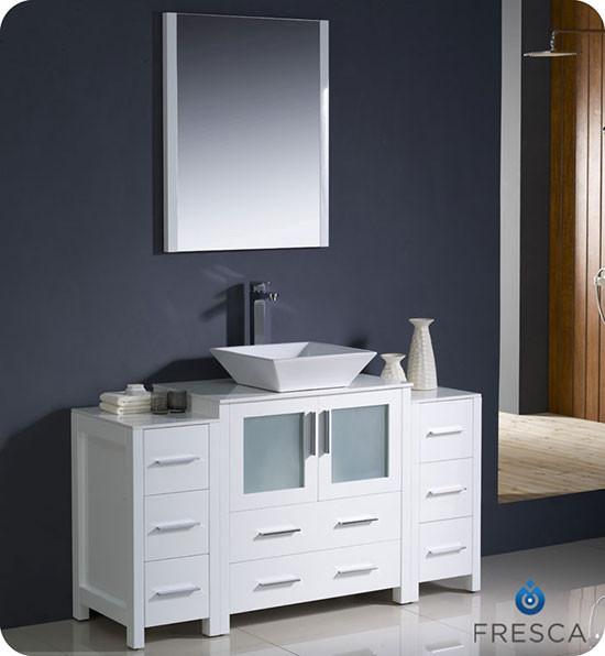 Fresca Torino (single) 54 Inch Modern Bathroom Vanity   White With Vessel  Sink