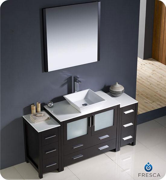 Fresca Torino Single Modern Bathroom Vanity Espresso With Vessel Sink