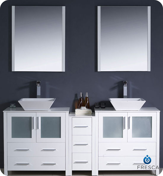 Fresca torino double 72 inch modern bathroom vanity for Bathroom cabinets 90
