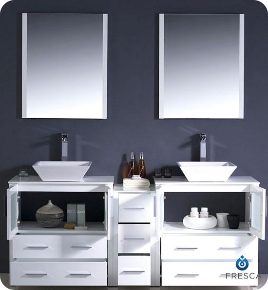 90 Inch Double Sink Bathroom Vanity: Fresca Torino (double) 72-inch Modern Bathroom Vanity