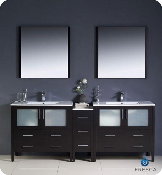 Fresca Torino Double 83 5 Inch Modern Bathroom Vanity Espresso With Integrated Sinks