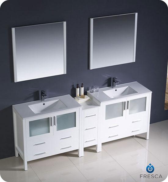 90 Inch Double Sink Bathroom Vanity: Fresca Torino (double) 83.5-inch Modern Bathroom Vanity
