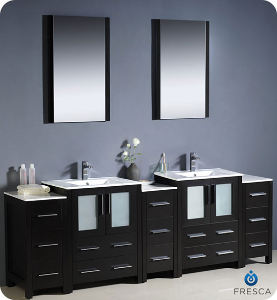 Fresca Torino Double 84 Inch Modern Bathroom Vanity Espresso With Integrated Sinks