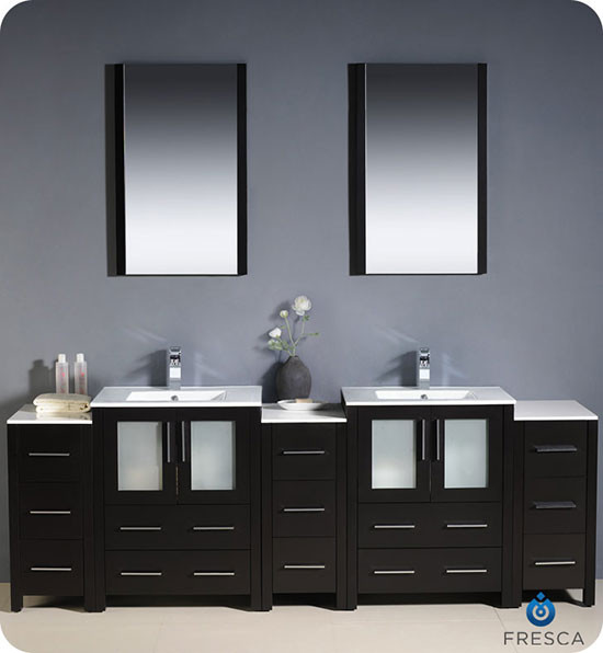 90 Inch Double Sink Bathroom Vanity: Fresca Torino (double) 84-inch Modern Bathroom Vanity