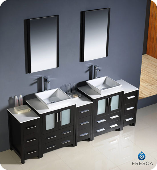 72 Madison Double Vessel Sink Vanity: Fresca Torino (double) 84-inch Modern Bathroom Vanity