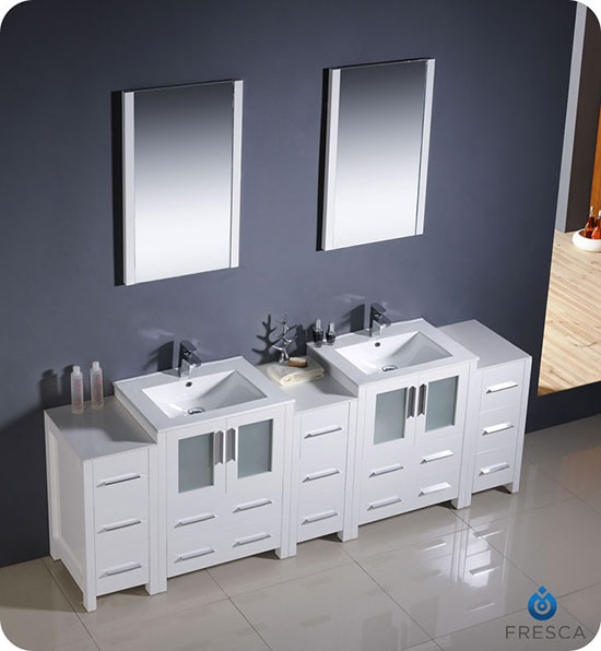 Fresca Torino Double 84 Inch Modern Bathroom Vanity White With Integrated Sinks
