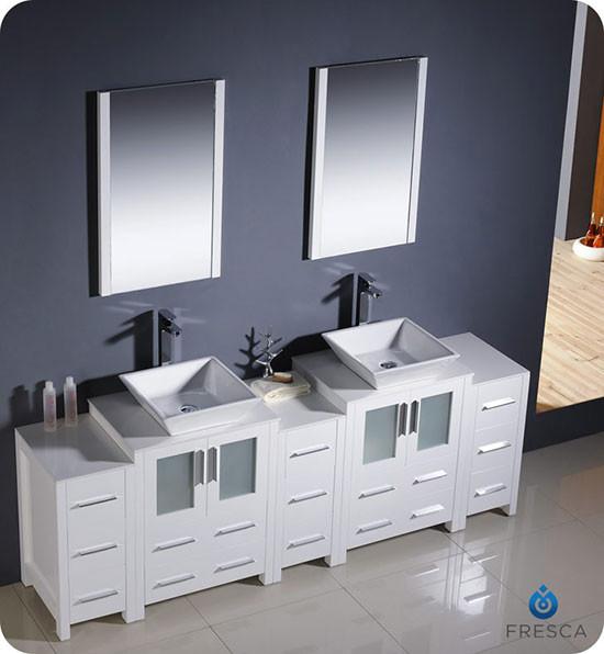 Fresca Torino Double 84 Inch Modern Bathroom Vanity White With Vessel Sinks