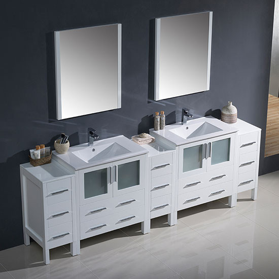 Fresca Torino Double 96 Inch Modern Bathroom Vanity White With Integrated Sinks