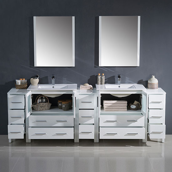 Fresca Torino (double) 96 Inch White Modern Bathroom Vanity With Integrated  Sinks