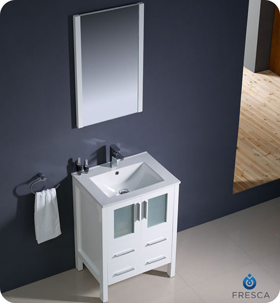 Fresca Torino Single 24 Inch Modern Bathroom Vanity White With Integrated Sink