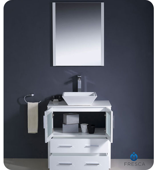 Fresca Torino Single 30 Inch Modern Bathroom Vanity White With Vessel Sink