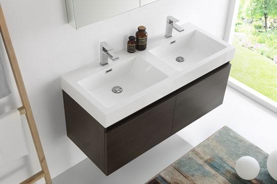 Fresca Mezzo (double) 47.3-Inch Modern Wall-Mount Bathroom ...