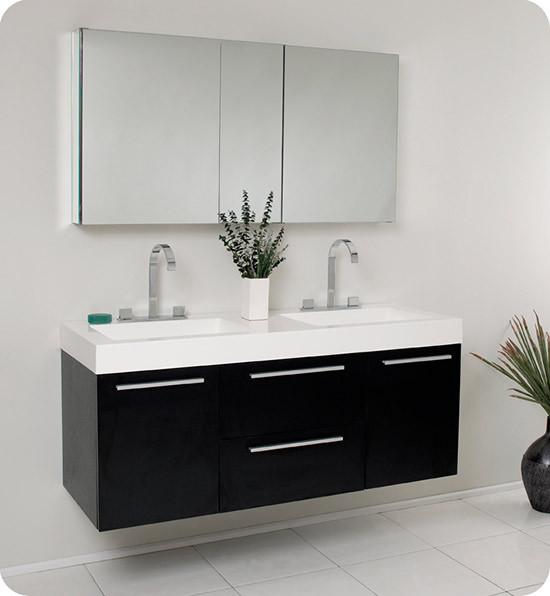 Fresca Opulento Double 54 Inch Modern Wall Mount Bathroom Vanity Black