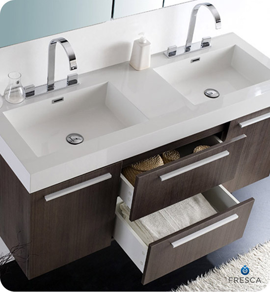 54 inch bathroom vanity double sink fresca opulento 54 inch modern wall mount 24777