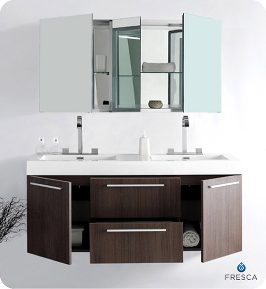 Fresca Opulento (double) 54-Inch Modern Wall-Mount Bathroom Vanity