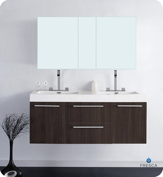 modern double sink bathroom vanities fresca opulento 54 inch modern wall mount 23809