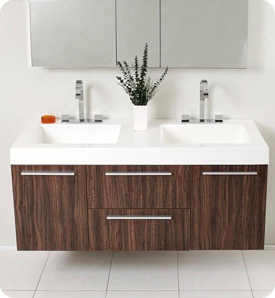 Fresca Opulento Double Inch Modern WallMount Bathroom Vanity - 54 inch bathroom vanity double sink